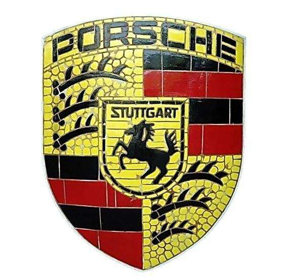 Mosaic Sign Porsche Emblem Look Alike Wall Decor Resin Statue- LM Treasures