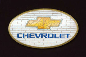 Mosaic Sign Chevrolet Emblem Look Alike Wall Decor Resin Statue - LM Treasures Life Size Statues & Prop Rental