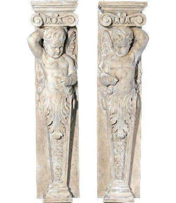 Stone Column Cherub Babies Set Of 2 Greek Roman Prop Resin Decor- LM Treasures