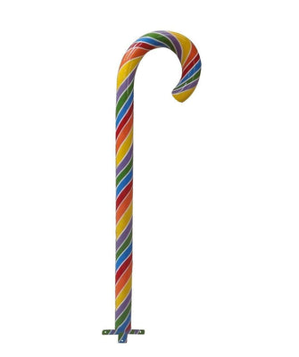 Candy Cane Small Base 6 ft Rainbow Over Sized Resin Prop Decor Statue - LM Treasures Life Size Statues & Prop Rental