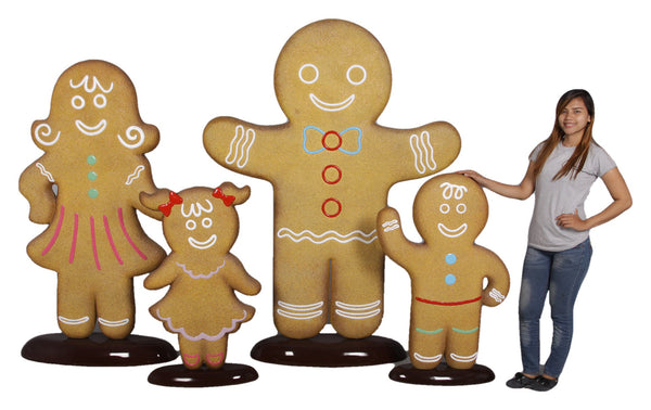 Gingerbread Family Set Cookie Display Prop Decor Statue - LM Treasures Life Size Statues & Prop Rental
