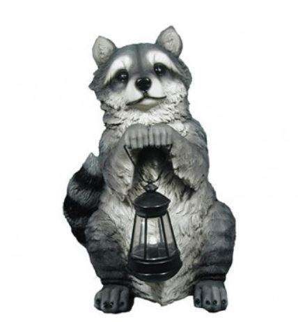Rodent Raccoon Lantern Forest Animal Resin Decor Statue