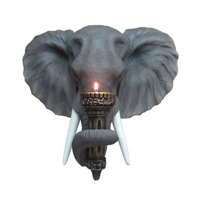 Elephant Head Wall Decor With Candle Jungle Animal Resin Statue - LM Treasures Life Size Statues & Prop Rental