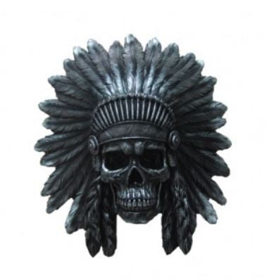 Indian Skull Metallic Head Wall Decor Western Prop Life Size Resin Statue - LM Treasures Life Size Statues & Prop Rental