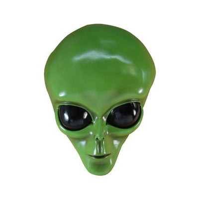 Alien Roswell Green Head Wall Decor Space Statue Prop Decor Life Size Resin- LM Treasures