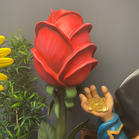 Rose In Pot Over Sized Flower Statue - LM Treasures