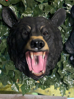 Black Bear Head Mouth Open Life Size Statue - LM Treasures Life Size Statues & Prop Rental