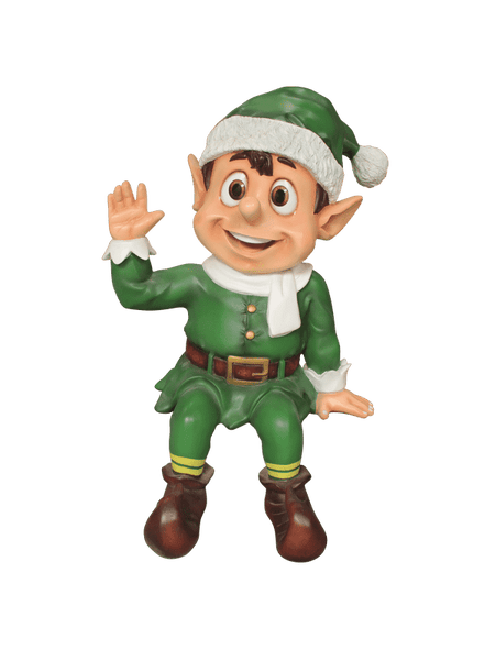 Elf Sitting  (Green) - LM Treasures Life Size Statues & Prop Rental