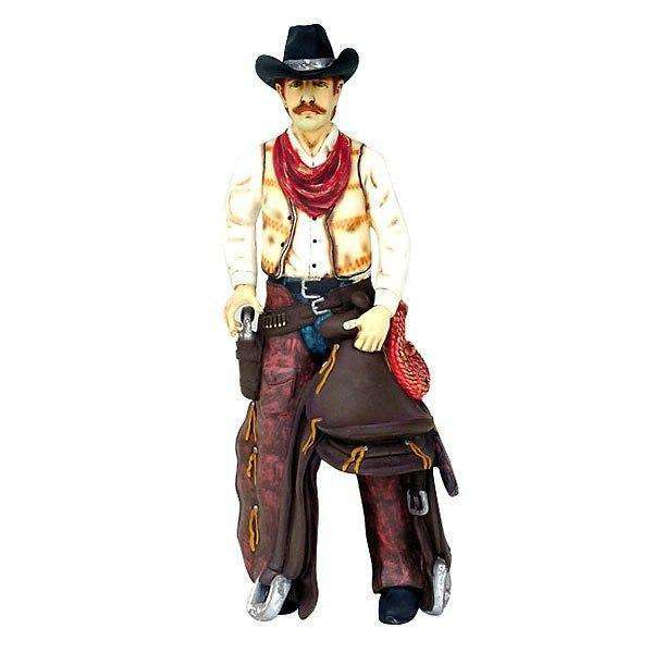 Western Cowboy With Saddle Life Size Statue - LM Treasures Life Size Statues & Prop Rental
