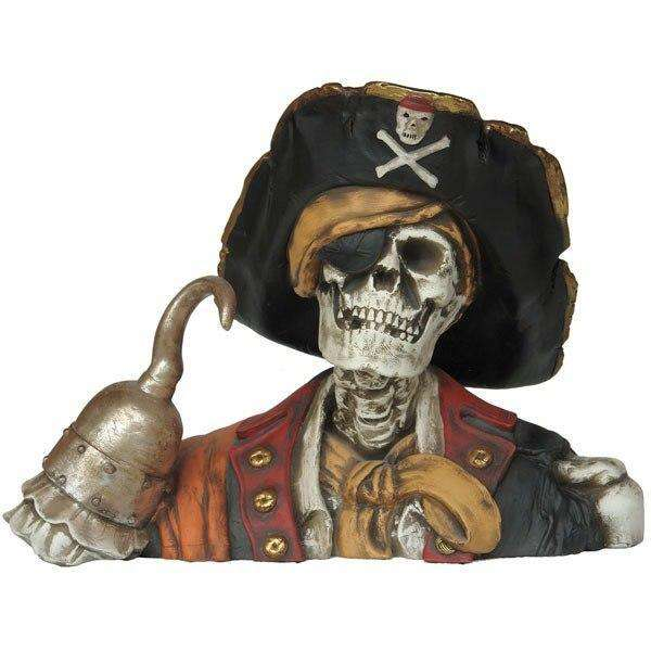 Pirate Skeleton Captain Hook Life Size Statue Resin Decor - LM Treasures Life Size Statues & Prop Rental