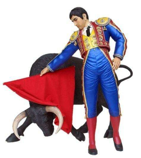 Spanish Matador Bull Fighter Flag Life Size Statue Display Prop - LM Treasures Life Size Statues & Prop Rental