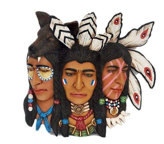 Indian Faces 3 Wall Decor Statue - LM Treasures