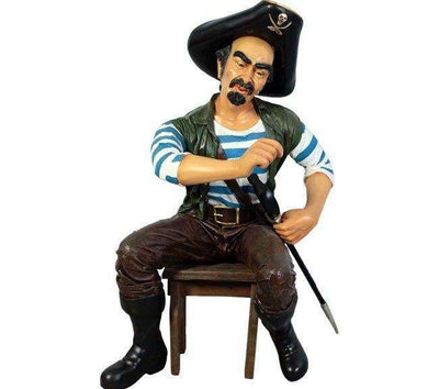 Pirate Sitting Pedro Life Size Statue Resin Decor (Does Not Include Stool) - LM Treasures Life Size Statues & Prop Rental
