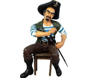 Sitting Pirate Pedro Life Size Statue - LM Treasures Life Size Statues & Prop Rental