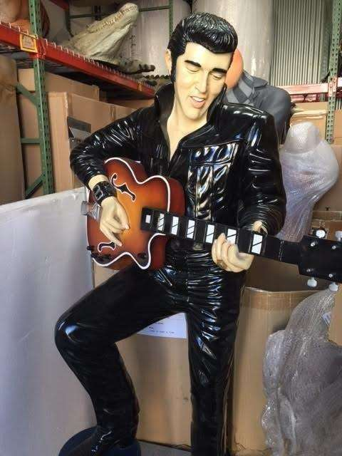 Celebrity Elvis In Black With Stool Life Size Movie Hollywood Prop Decor Statue - LM Treasures