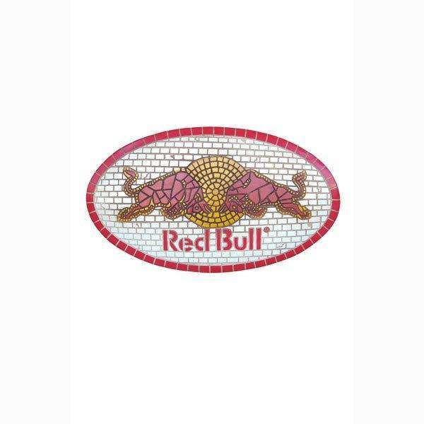 Sign Red Bull Looks Like Mosaic Wall Plaque Decor - LM Treasures Life Size Statues & Prop Rental