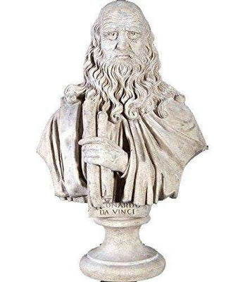 Stone Bust Leonardo Da Vinci Greek Roman Prop Resin Decor- LM Treasures