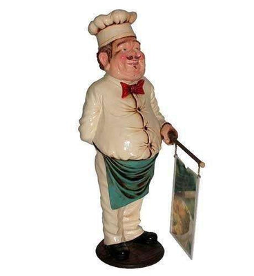 Chef With Menu Small Prop Restaurant Decor Resin Statue - LM Treasures Life Size Statues & Prop Rental