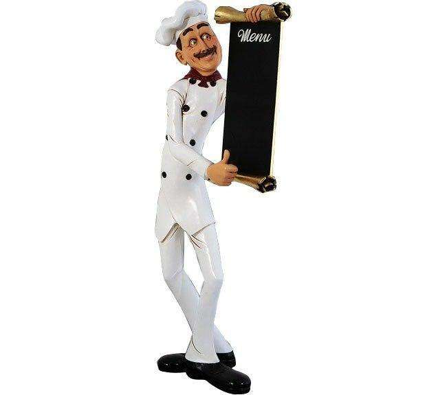 Chef Skinny Small Prop Restaurant Decor Resin Statue - LM Treasures