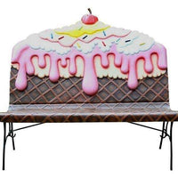 Strawberry Fudge Ice Cream Bench Life Size Statue - LM Treasures Life Size Statues & Prop Rental