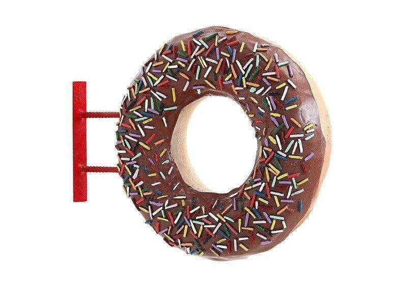 Hanging Brown Donut Over Sized Statue - LM Treasures Life Size Statues & Prop Rental