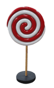 Lollipop Round Twirl Red White Small Over sized Display Resin Prop Decor Statue - LM Treasures Life Size Statues & Prop Rental