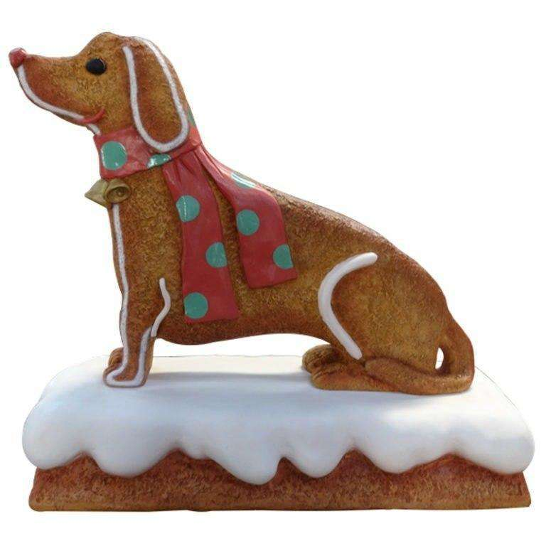 Gingerbread Dog Cookie Display Prop Decor Statue