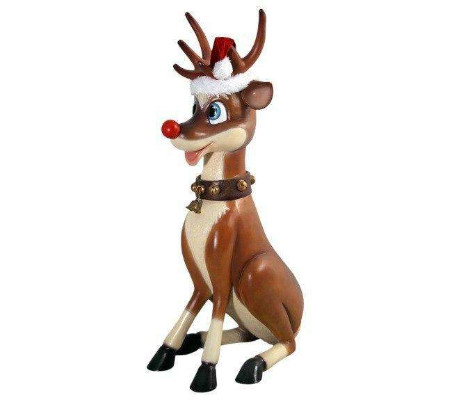 Deer Reindeer Funny Sitting Statue Christmas Prop Life size - LM Treasures Life Size Statues & Prop Rental