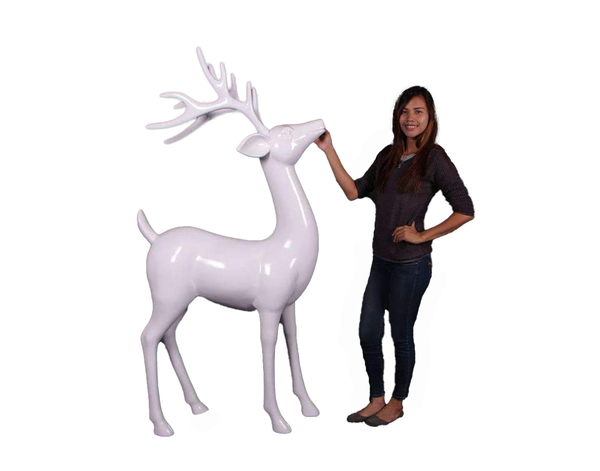 White Reindeer Standing PRE ORDER Life Size Statue - LM Treasures Life Size Statues & Prop Rental