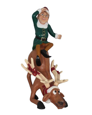 Elf Babbo And Reindeer Dasher - LM Treasures Life Size Statues & Prop Rental