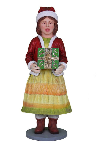 Caroler Daughter With Gift - LM Treasures Life Size Statues & Prop Rental
