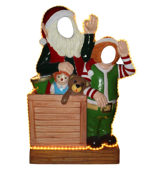 Photo Op Elves With Toys Crazy (Light Up) - LM Treasures Life Size Statues & Prop Rental