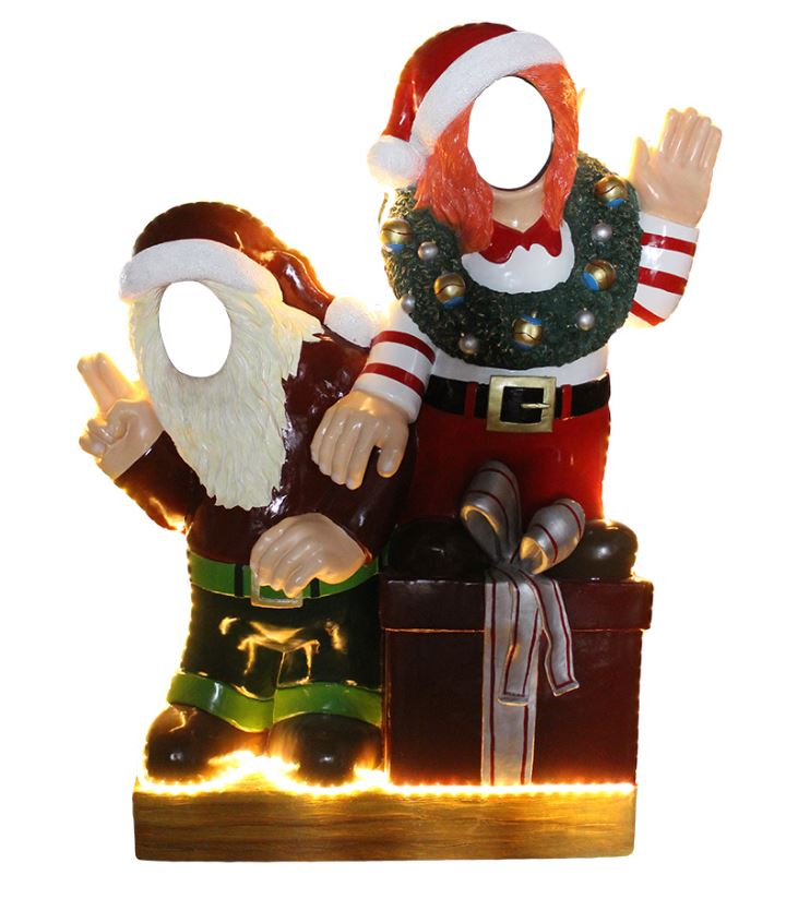 Photo Op Elves With Gifts Crazy (Light Up) - LM Treasures Life Size Statues & Prop Rental