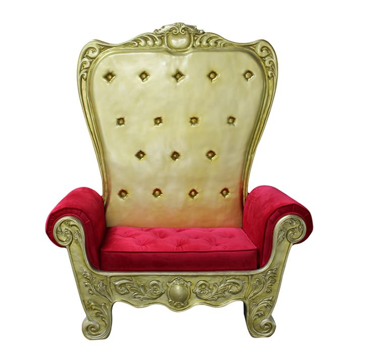 Chair Christmas Throne (Gold) - LM Treasures Life Size Statues & Prop Rental