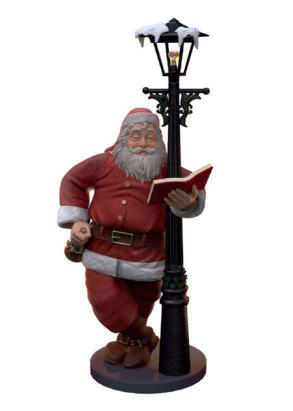Lamp Post Santa - LM Treasures Life Size Statues & Prop Rental