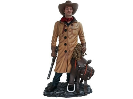 Western Cowboy In Coat Life Size Statue - LM Treasures