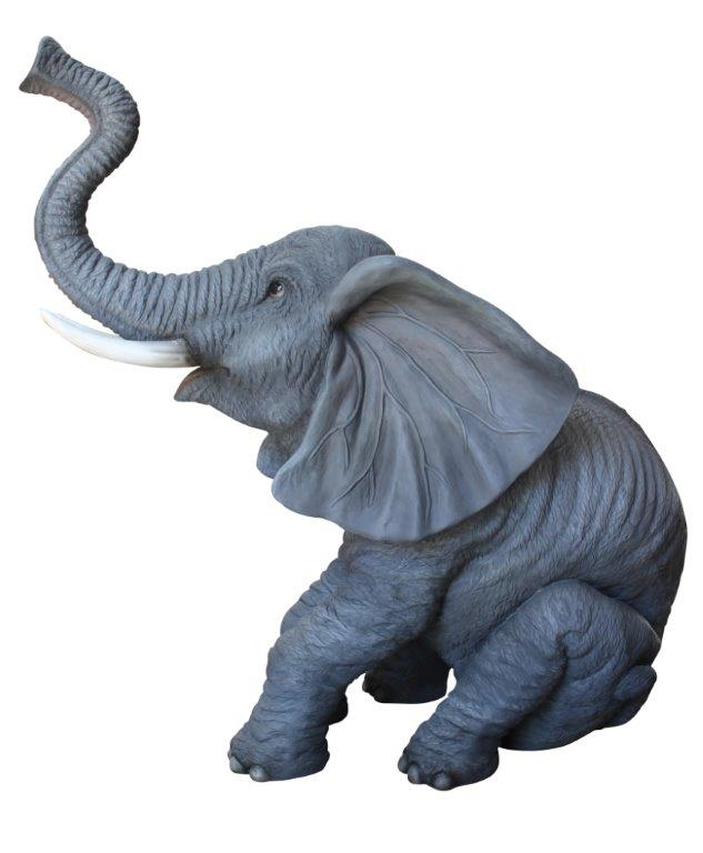 Baby Sitting Elephant Trunk Up Life Size Statue - LM Treasures