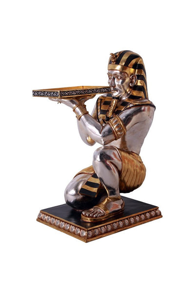 Egyptian Kneeling King Tutankhamen w tray Statue Table - LM Treasures