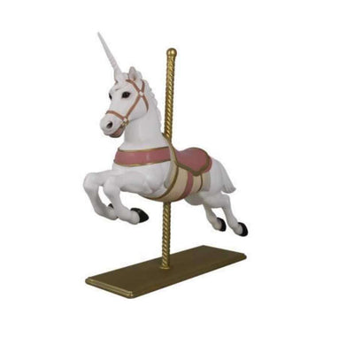 Carousel Unicorn Horse Pink Majestic Resin Statue Display - LM Treasures - Life Size Statue