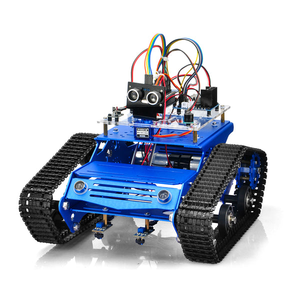 Robot Tank Car Kit Tank Chassis Platform Metal Stainless Steel 2DW Motor 9V for Arduino/Raspberry Pi DIY