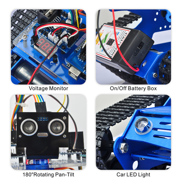Robot Car Chassis Smart Tank Platform Metal Stainless Steel 2DW Motor for Arduino / Raspberry Pi DIY