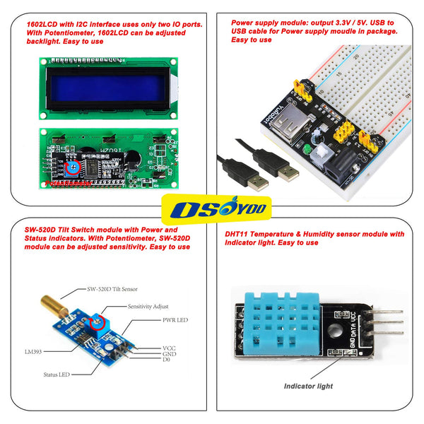 OSOYOO Raspberry Pi 3 3B+ Zero W Starter Kit DIY Electronic RPi Learning Kit for Beginner Display with C/Python Code and Video Tutorial