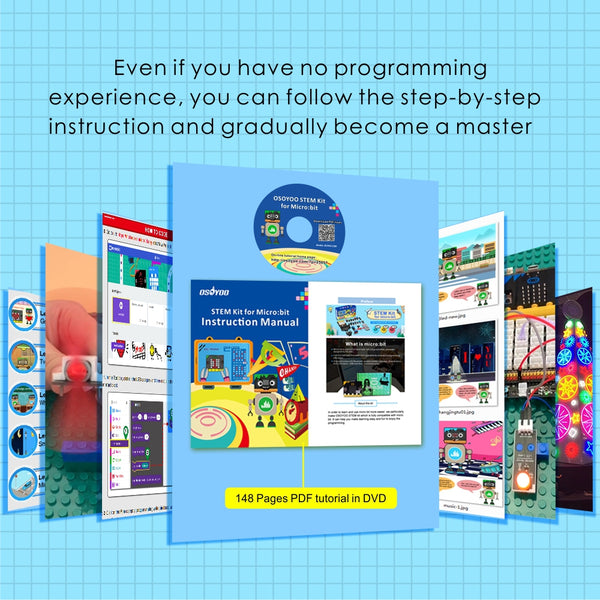 OSOYOO STEM Starter Graphical programming Kit for BBC Micro:bit with plug and play expansion board for beginner and kids