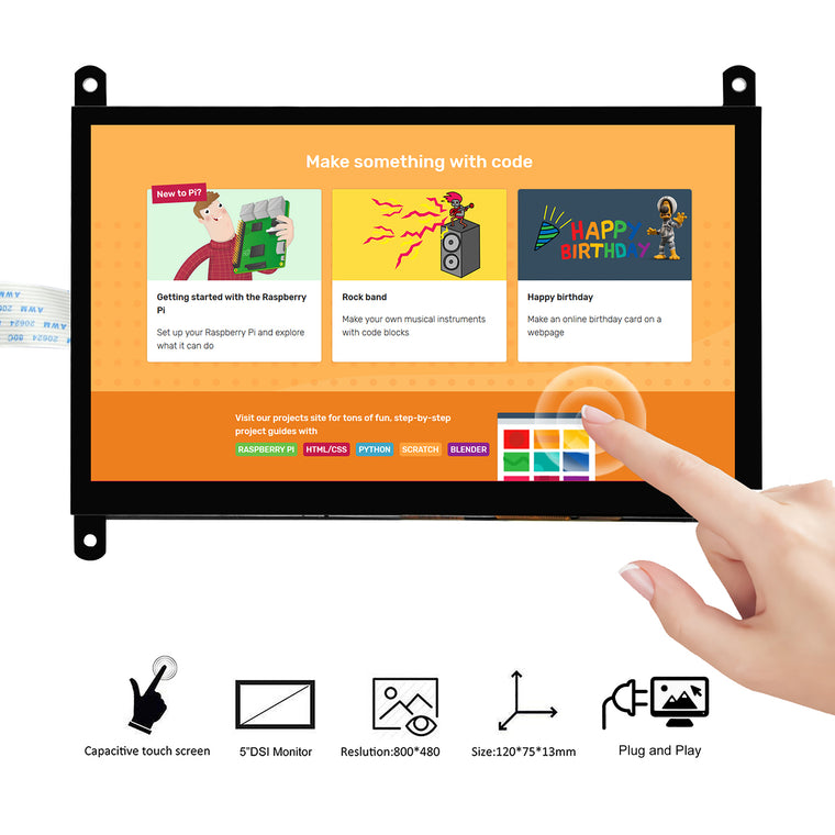 OSOYOO 7 Inch DSI Touch Screen LCD Display 800x480 for Raspberry Pi