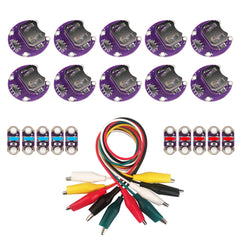 Lilypad Coin Cell Battery Holder | Lilypad LEDs Blue/Red | Alligator Clips Test Lead Wire for Arduino Raspberry Pi