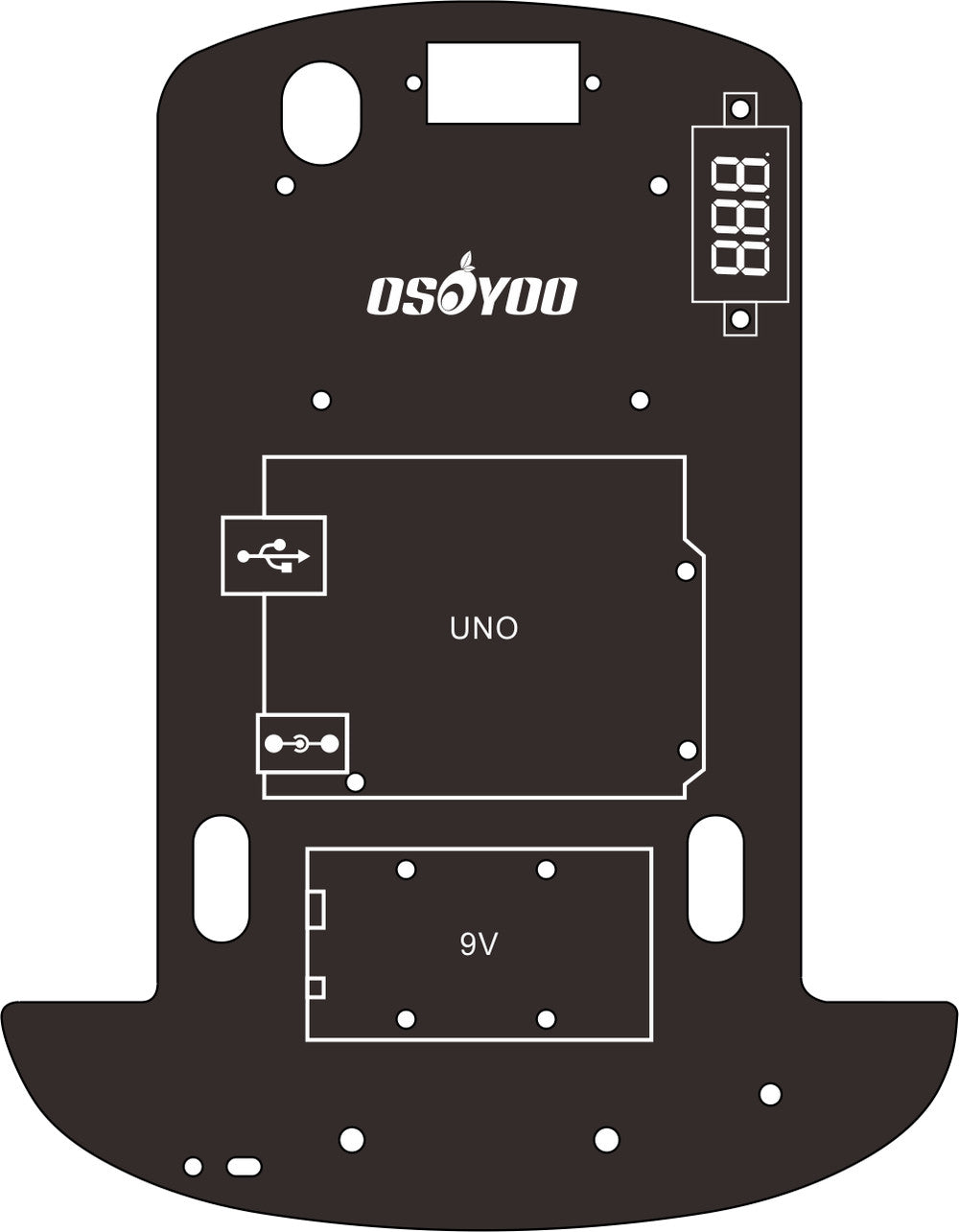 Replacement Chassis for Osoyoo Model-3 Robot Learning Kit V2 (model#2020001700)