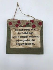 "Elf ""Santa's Workshop"" Ornament Sign"