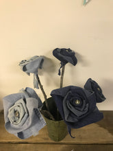 Load image into Gallery viewer, Hand-wrapped Denim Rose (blue)