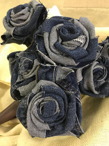 Hand-wrapped Denim Rose (blue)