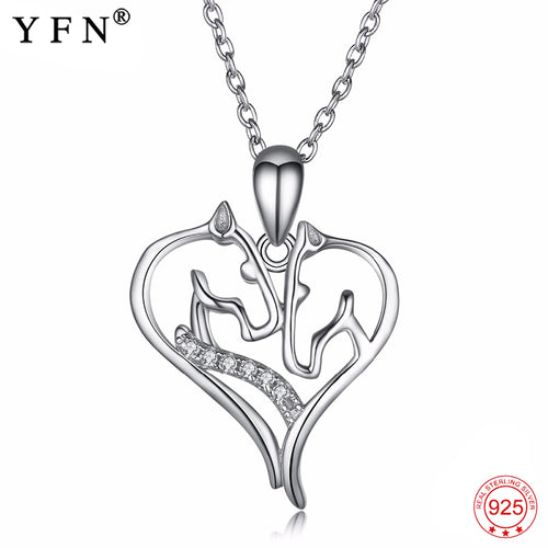 925 Sterling Silver Necklace Jewelry Sweet Crystal Love Heart Horse Head Pendants Necklaces Fashion  Jewelry Best Gifts PYX0109